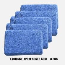 Éponges en microfibre pour nettoyage de voiture, tampons de polissage pour cire à main, 8 pièces/lot