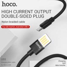 hoco micro usb cable charging data sync micro-usb port wire to a reversible for xiaomi samsung android charger