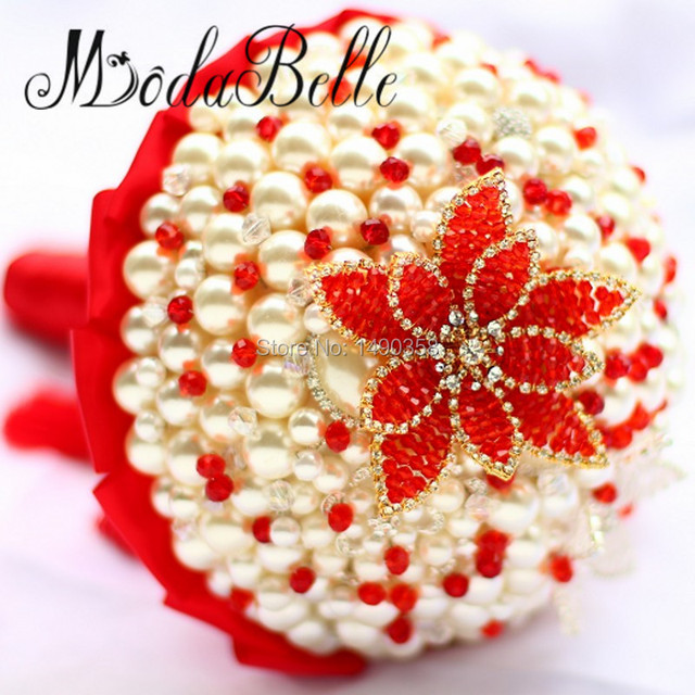 2017 Luxury Wedding Bouquet Pearl Red Crystal Artificial Flower Brooch Bouquet De Noivas Chinese Style Wedding Decoration