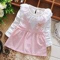 2016 nova primavera outono rendas colarinho falso 2 pcs cinta vestidos para meninas roupa do bebê terno 0 ~ 18 meses vestido de festa da menina recém-nascidos
