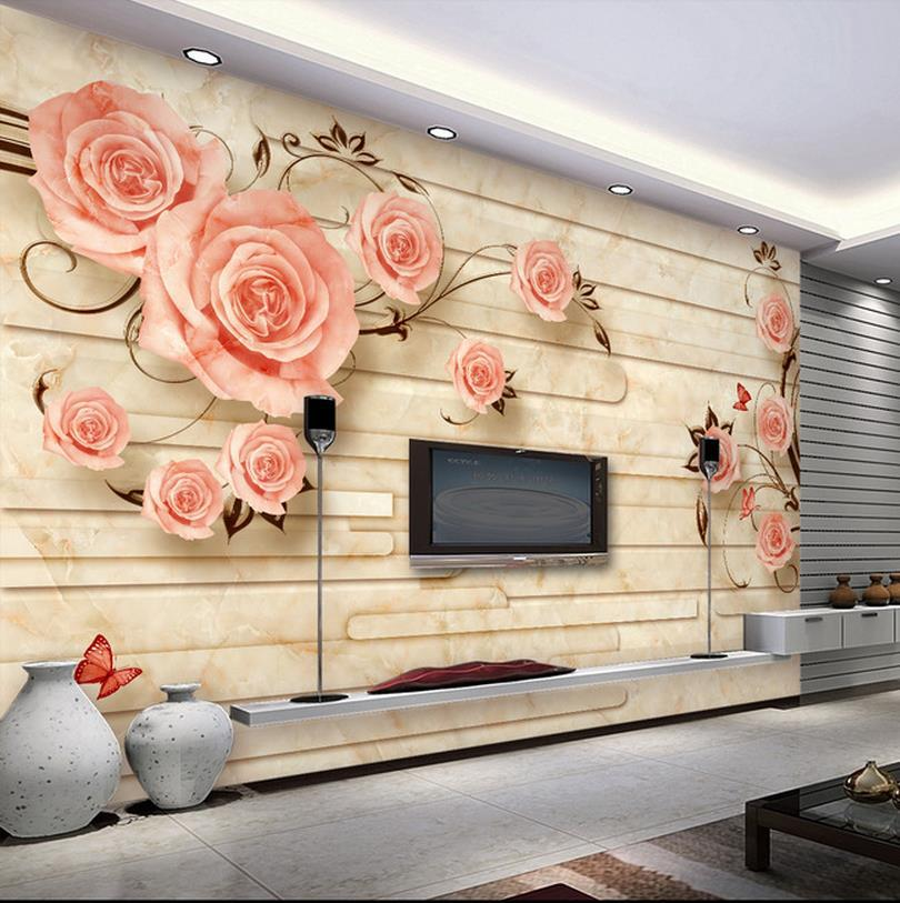 Custom wallpaper papel de parede 3D Marble tiles flower relief mural     Custom wallpaper papel de parede 3D Marble tiles flower relief mural 3d  mural wallpaper 3d wall paper for room in Wallpapers from Home Improvement  on