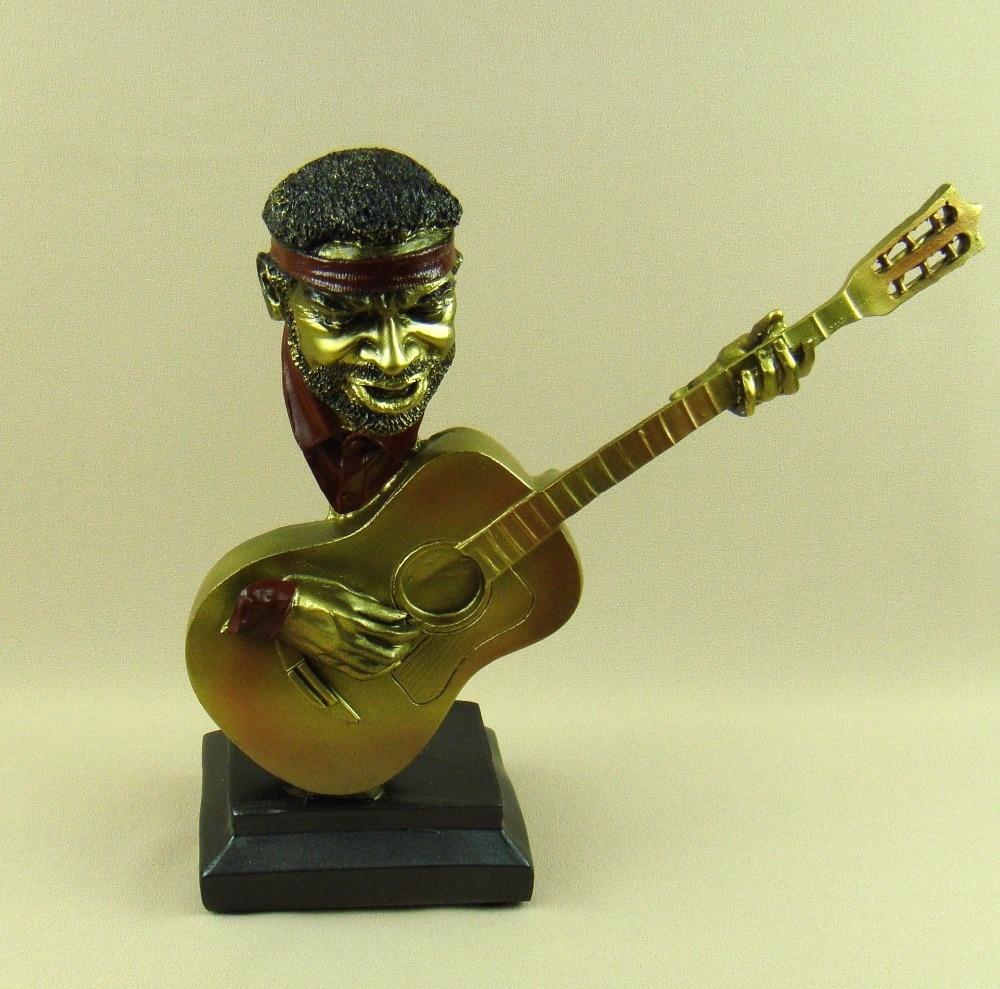 Reminiscent Jazz Guitarist Bust Statue Resin Music Character ...