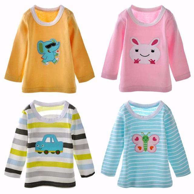 2/3/5 unidades/pacote Novo dos desenhos animados mais populares 6 m-36 m de algodão impressão da roupa do bebê das meninas dos meninos camisa de manga comprida t, crianças t-shirt do bebê meninas