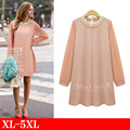 Vestidos Plus Size XL - 5XL Women T Shirt Dress 2017 New Long Sleeve Beaded Black And Pink Dresses Female Big Size Clothing Sale