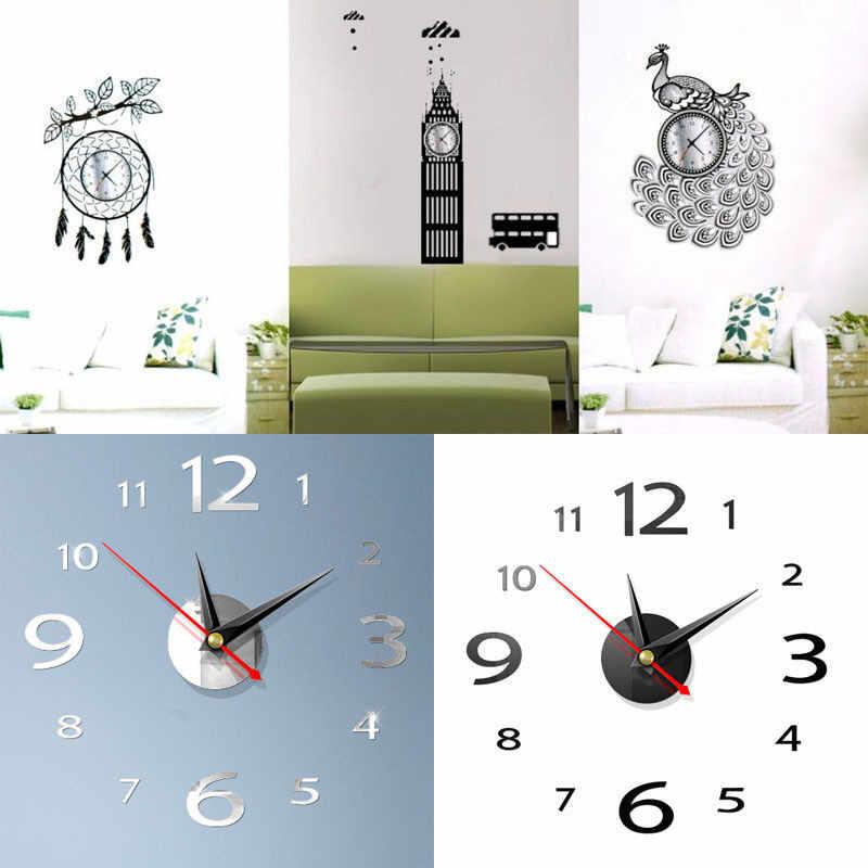 3D ściany nowoczesne duże 400mm 3D ścienne lustro powierzchni zegar 3D naklejki ścienne biuro w domu pokój DIY dekoracje ścienne akcesoria do dekoracji domu