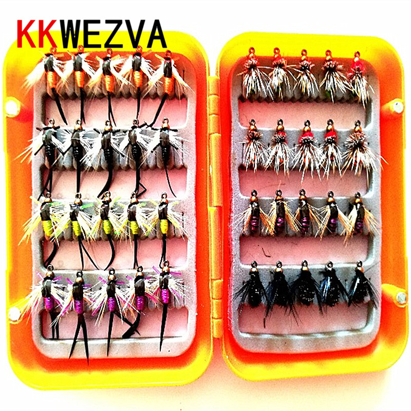 KKWEZVA 40pcs fly Fishing Lure with box Insects different Style Salmon Flies Trout Single Dry Fly Fishing Lures Fishing Tackle