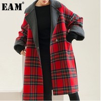 [EAM] 2018 New Autumn Winter Lapel Long Sleeve Red Plaid Stitching Thicken Large Size Woolen Coat Women Parkas Fashion LD0180