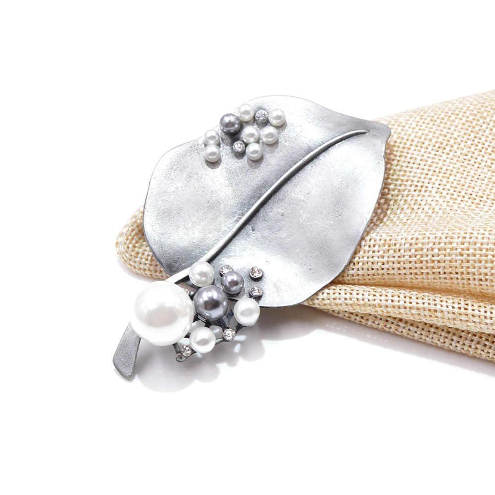 Cindy Xiang Besar Desain Daun Bros untuk Wanita Vintage Elegan Mantel Pin Mutiara Korsase Kreatif Fashion Musim Gugur Aksesoris
