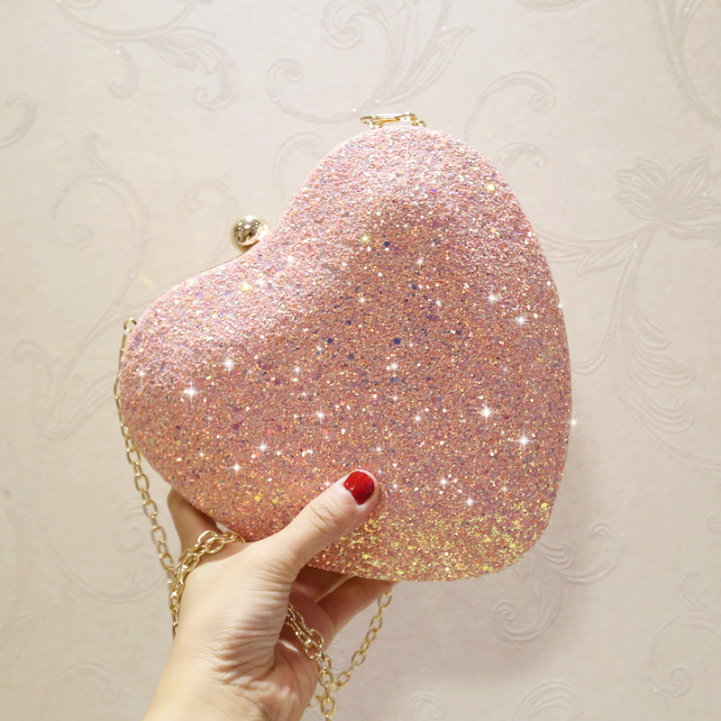 Lovely Pink Glitter Women Heart Metal Minaure Handbag Light Blue Evening Bag Multi Color Wedding Purse Bridal Party Clutch In Clutches From Luggage