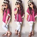 100% Brand New Fashion Kids Girls Clothing Rose Red Lace Short Sleeve Side Shirt White Calf Length Jeans 2 Pcs/Set Suit