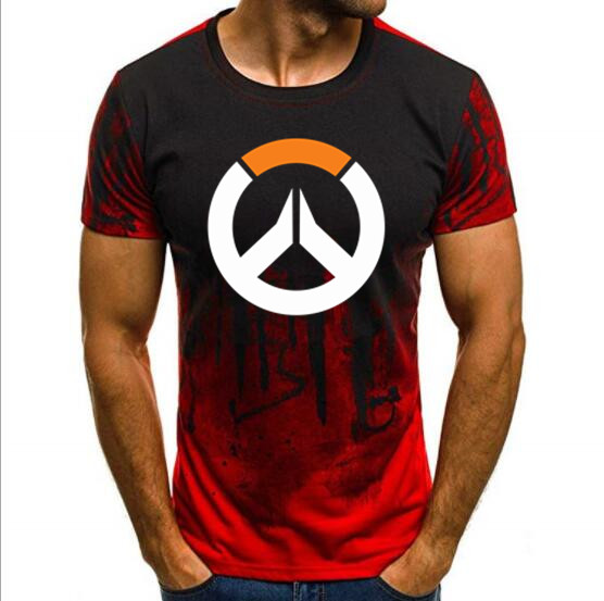 free shipping Overwatch Game Logo Gamer Gaming Tshirt Tee Top Over Short-Sleeve   T     Shirts   Print   T  -shir