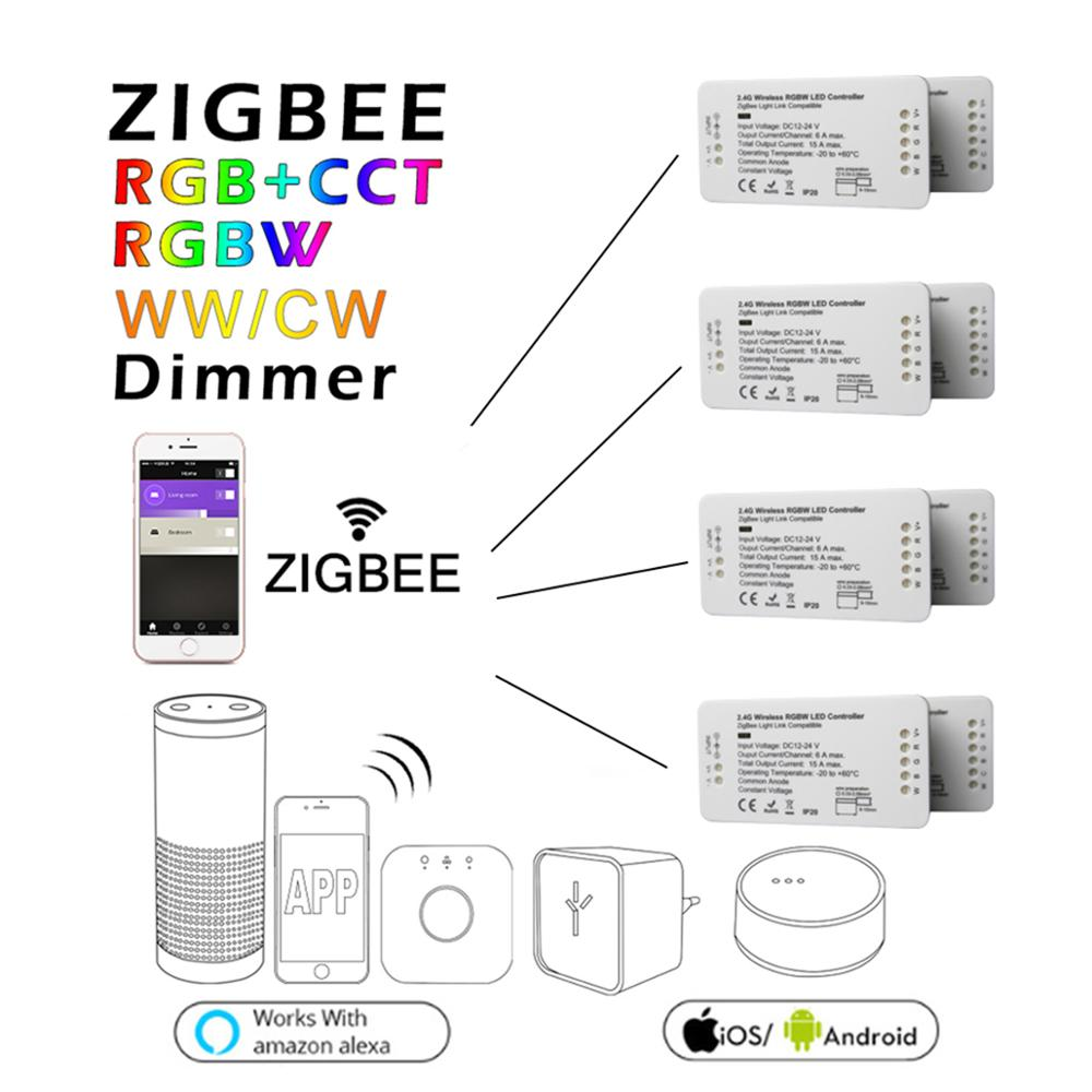 ZIGBEE ZLL RGB+CCT RGBW WWCW LED Strip Controller DC12/24V linear light Dimmer comptaible with amazon echo plus hue zll standard home smart rgb rgbw zigbee led strip controller zigbee app control zll light hue compatible with echo plus osram lightify wifi