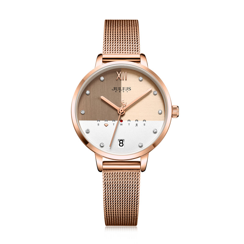 Julius Watch Stainless Steel Mesh Band Elegant Women's Business Watch With Calendar Day Rose Gold Multi Color Dial Clock JA-1100