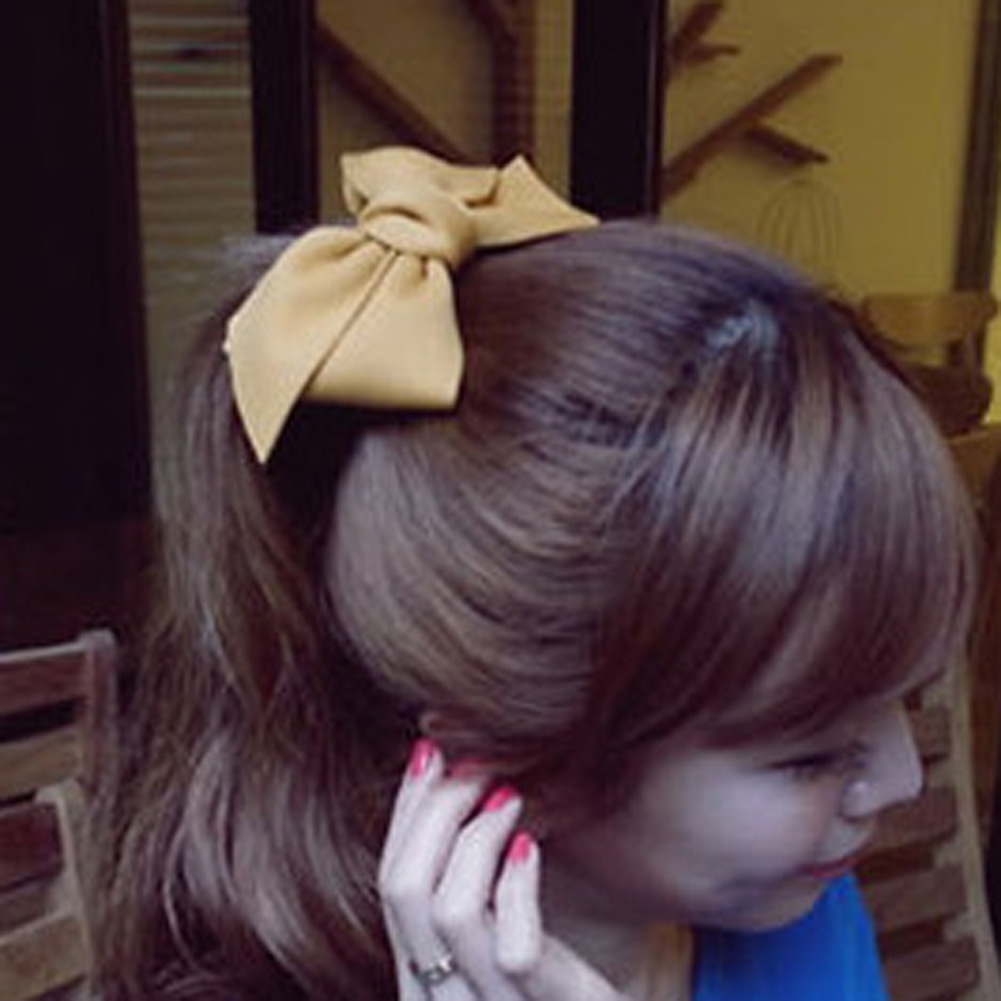 Korean Hair Jewelry Hairpin Large Cloth Large Bow Top Clip Spring Clip Big Bow Spring Clip Hairpin Top Folder