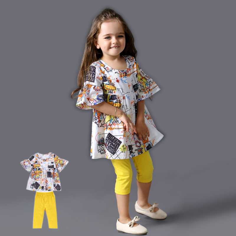 2017 Brand Designers Grils Clothes Baby Girl Graffiti Dress + Leggings Girls Cartoon Clothing Sets Cotton Suits For 2 3 4 5 Year brand cute toddler girl clothes rainbow color sling 2 pcs baby girl clothing sets for 6m 3y free shipping