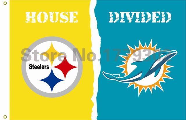 """פיטסבורג סטילרס NFL בית מיאמי דולפינס מחולק דגל 3ft x 5ft פוליאסטר גודל מעופף באנר מותאם אישית 144*96 ס""""מ דגל"""