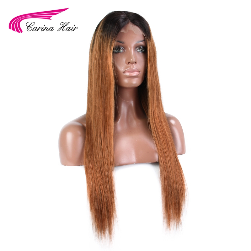 Carina Lace Front Human Hair Wigs with Baby Hair Middle Part Glueless Lace Wigs Malaysian Remy Hair Ombre Color Hair Wigs