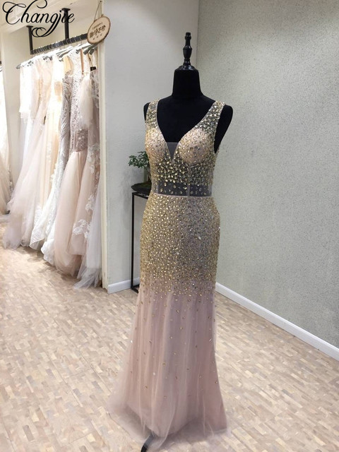 Fashionable Sexy Backless Backless Prom Dresses Long Beading Sequins Mermaid Evening Party Dress For Women V Neck