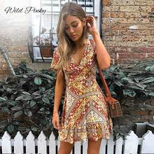 Wild Pinky Women Mini Boho Floral Dress Summer Beach Short Sleeve V neck Evening Party bohemian beach dress vintage Ruffle hem ruffle hem floral bardot dress