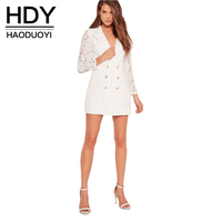 HDY Haoduoyi White Women Autumn Slim Blazers Sexy Lace Contrast Buttons Casual Outwear High Waist V