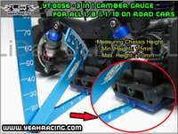 Yeah Racing 3 In 1 Camber Gauge Metal Set Up Tool Chassis Suspension Wheel Camber Ride