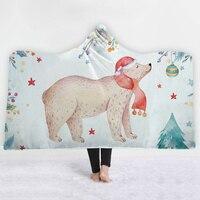 Polar bear Blankets hats bedroom sofa keep warm Light blue Blankets soft comfortable Fit for children blanket sell well