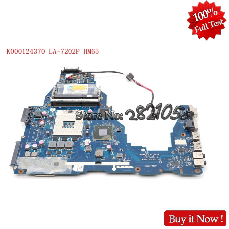 NOKOTION Laptop Motherboard For Toshiba Satellite C660 K000124370 LA 7202P Mainboard HM65 DDR3 GMA HD3000 Tested