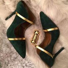 2018 New Arrival Fashion Patchwork High Heel Suede Leather Mules Spring Autumn Wedding Party Dress Shoes Women Pointed Toe Pumps