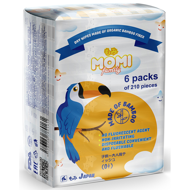 Бумажные салфетки MOMI  «Family Bamboo», трехслойные, 210 шт