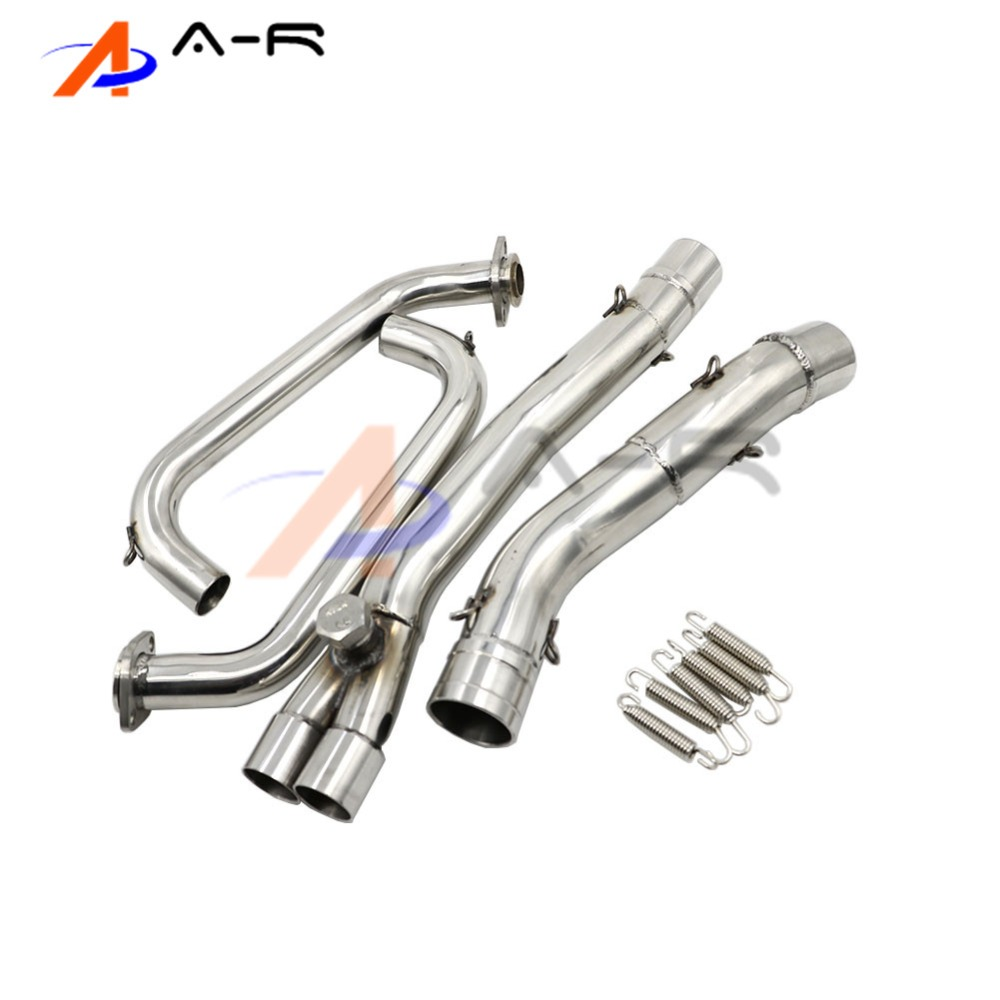 Motorcycle Stainless Steel Slip-On Exhaust Mid Pipe For Kawasaki Ninja 250R EX250 2008-2012 2009 2010 2011 motorcycle stainless slip on exhaust mid pipe for ktm 390 duke 2013 2014 2015 2016