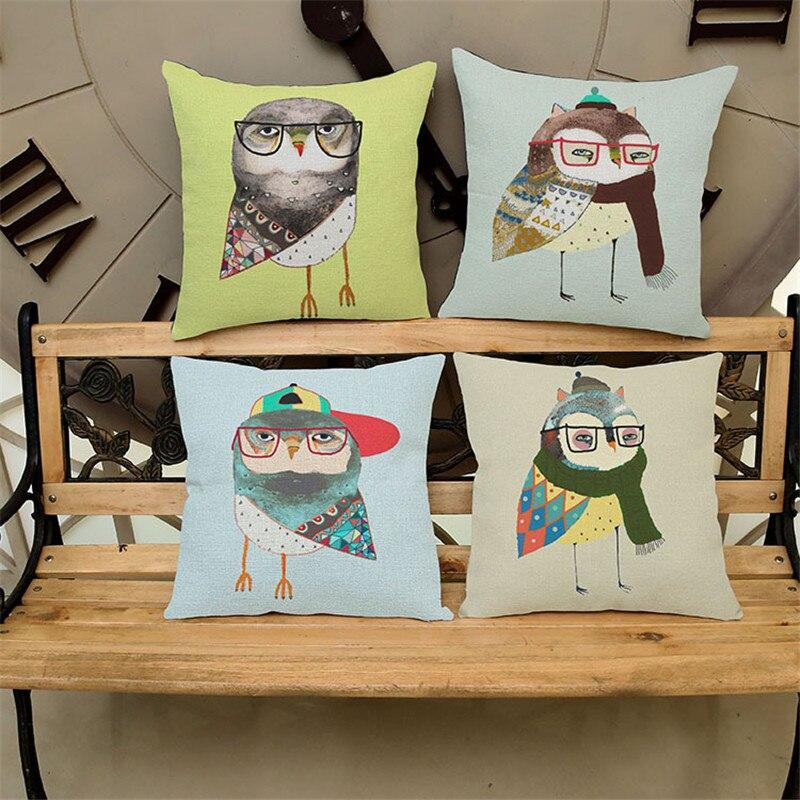 Cartoone creative birds owl wear glasses Cushion Cover Pillow Case home office coffee shop club hotel sofa chair decoration gift
