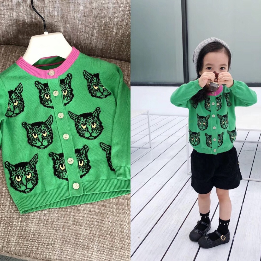 цена на Baby girls cardigans wool cotton knitting cute cat pattern girls sweater girl cardigan kids boutique clothes