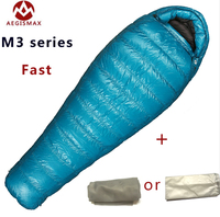 2018 Aegismax M3 Lengthened Mummy Sleeping Bag Ultralight White Goose Down Box Baffles Winter Outdoor Camping Hiking 210cm*82cm