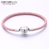 New Fashion 100 925 Sterling Silver Heart Clasp Genuine Leather Pink Chain Bracelet Fit Original Charm