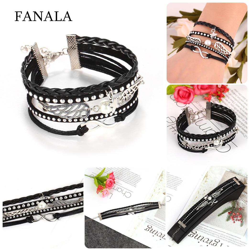 Women Exquisite Weave Leather Accessories For Women Layered Pendant Lobster Claw Clasp Bracelet