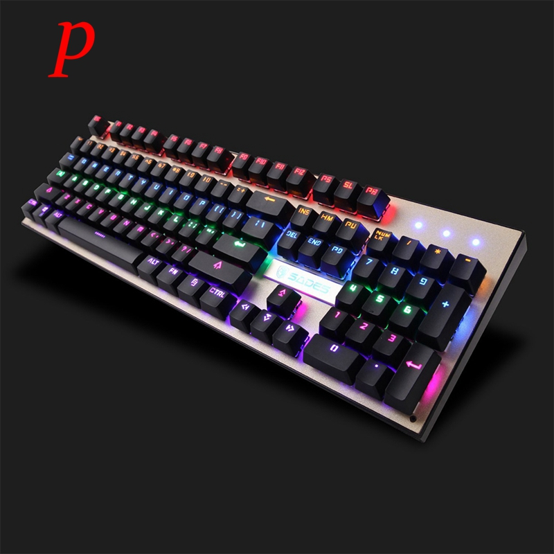 P SADES K10 LED Backlit USB Wired Mechanical Gaming Keyboard With Blue Switch For PC LOL DOTA World of Warcraft Gamer
