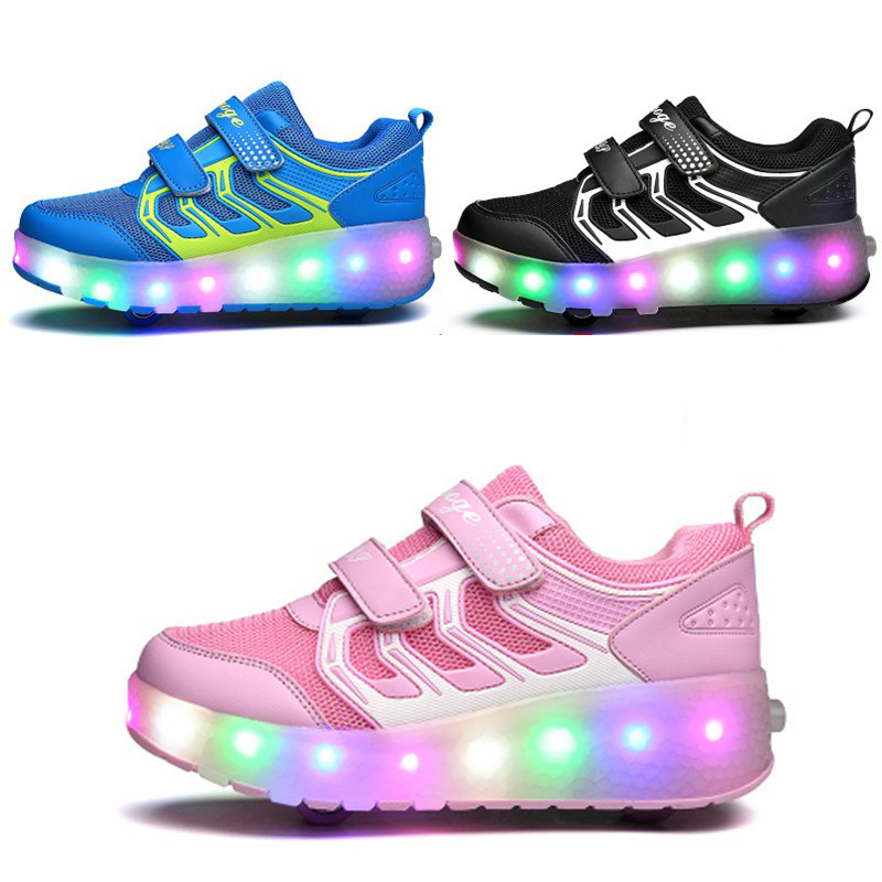 USB Charged LED Double Roller Skate Shoes Children Invisible Automatic Pulley Roller Shoes Luminous Sneakers Light