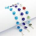 925 Sterling Silver Turca Pulseira Olho Do Mal Jóias Feitas À Mão de Vidro Murano Itália Nazar Judaica Céu Azul Islâmico