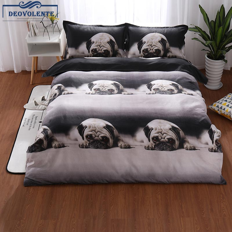 Bedding 2/3pcs Lovely Polyester Pug Printed Bedding Sets Duvet Cover Bed Pillowcase Tiwn Queen King Warm Soft Home Bedding Kit Online Discount