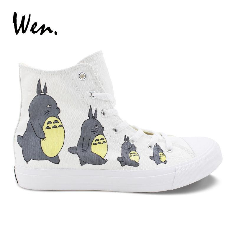 DemüTigen Wen Design Anime Schuhe Weiß Hand Gemalt Mein Nachbar Totoro High Top Unisex Leinwand Turnschuhe Jungen Mädchen Schuhe Skateboard 100% Garantie