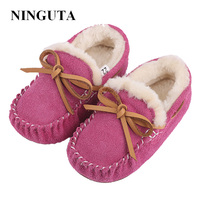 NINGUTA winter leather girls shoes kids loafers flats shoes