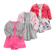 2 Pieces Set 2018 New Baby Girls Flower Dresses Cotton Jumpsuits Girls Fashion Spring Autumn Clothes  Newborn Baby Girl Roupa