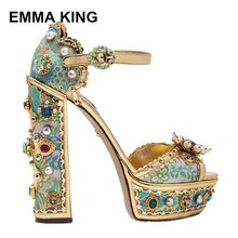 EMMA KING 2019 Rhinestone Embellished Women Sandals Sexy Open Toe High Heel Party Shoes Print Pattern Summer Platform Shoes rhinestone glitter embellished heel sandals