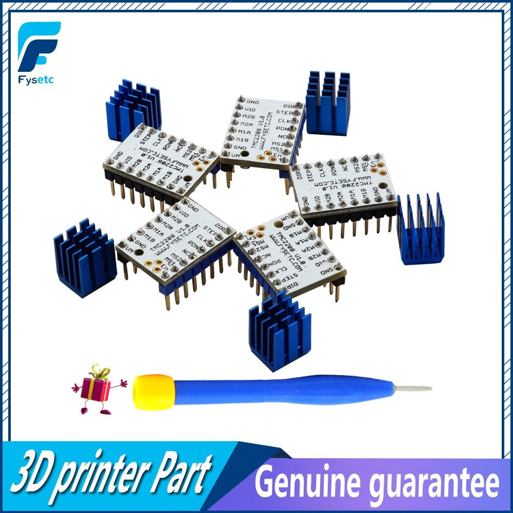 5 piezas TMC2208 Motor paso a paso Mute conductor Stepstick tubo de alimentación conductor incorporado corriente 1.4A corriente pico 2A reemplazar TMC2100