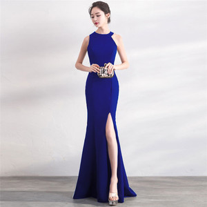 Image 5 - Its Yiiya evening dress Sexy Halter zipper back long party Gowns Elegant White sleeveless trumpet formal Prom dresses C148
