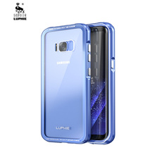 LUPHIE Aluminum Frame Case with Back Tempered Glass for Samsung Galaxy S8 S8Plus