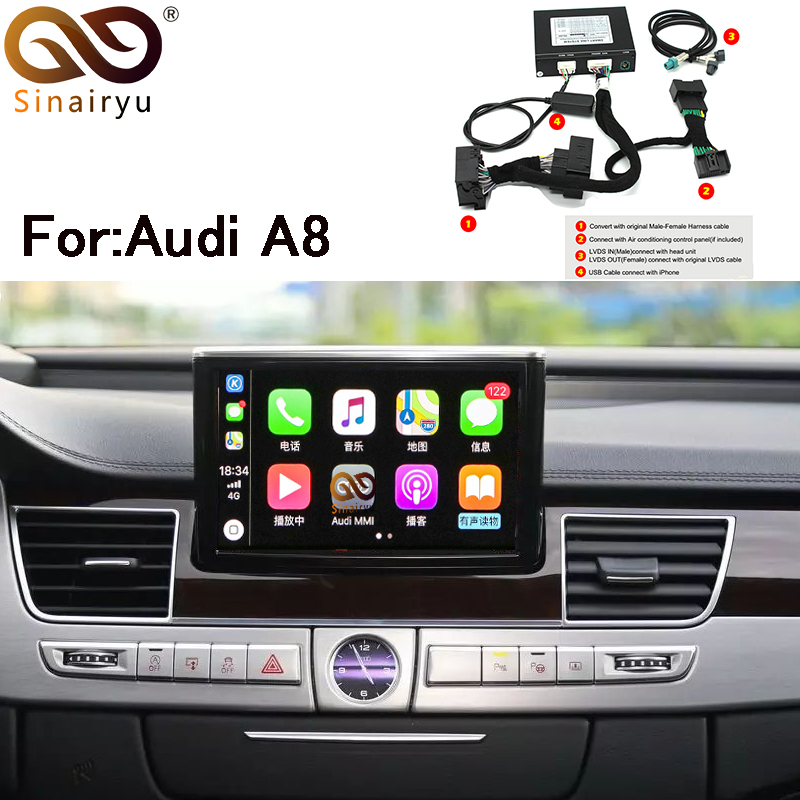 US $294 39 8% OFF|Sinairyu Apple Carplay Android Auto IOS Airplay Retrofit  Upgrade A8 MMI for Audi AUX Activated-in Car Monitors from Automobiles &