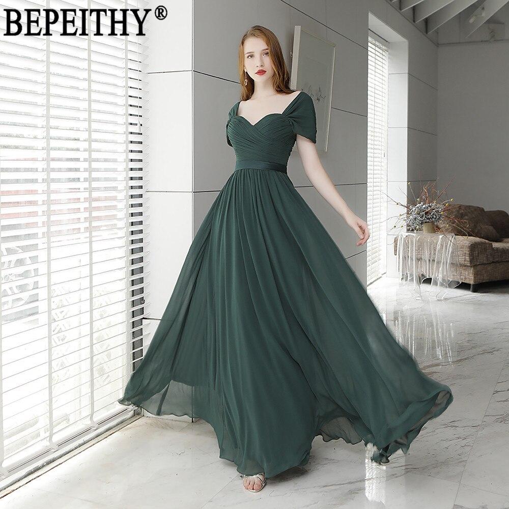 BEPEITHY Vestido De Festa Simple New Arrival Cap Sleeve Blackish Green Prom  Dress Pleats Long Evening 0ebae2c3be78