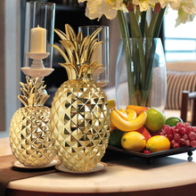 Golden Ceramic Pineapple Modern feng shui home decoration accessories plant fruit bromel figurines wedding decorations