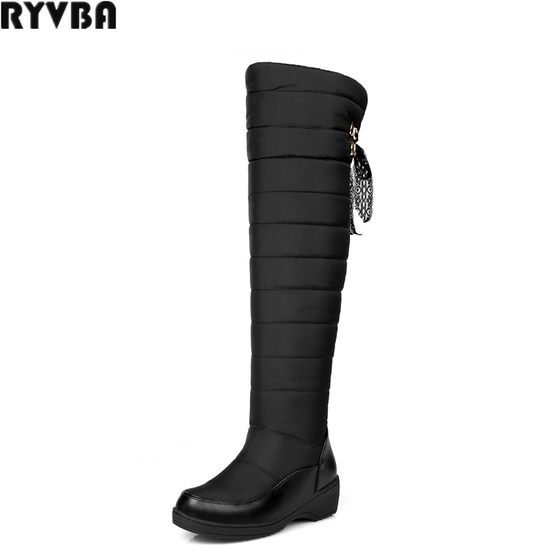RYVBA woman over the knee snow boots fashion platform fur thigh high boots winter boots for women shoes womens female plus size